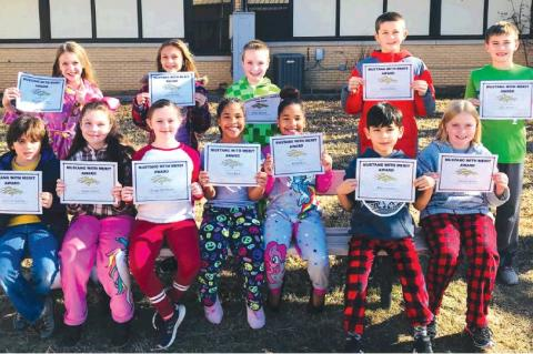 Honored for the month of December for their Empanty were Chritian Watham, Sophie Cassell, Grasyn Whitehead, Kiara Byrd, Kellee Byrd, Mario Gonzalez, Cameron Batey, back row Christina House, Lesli Williams, Dillon Maxwell, Kamden Adams and Brax Wofford